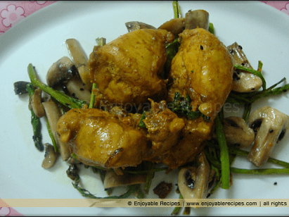 Chicken Curry with Veggies - Simple bengali curry on a bed of asparagus and mushrooms